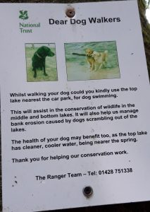 A sign asking dogs swim in the lake nearest the car park